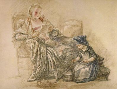 Francois Guerin Lesende Dame mit Kind