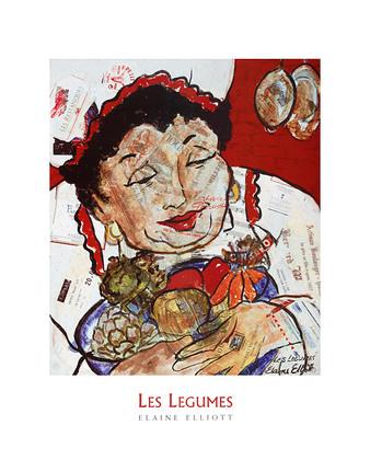 Elaine Elliott 4er Set 'Les Legumes' + 'Vin Rouge' + 'Le Potage' + 'Le Tastivin'
