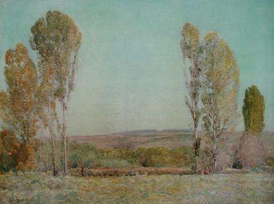 Hilde Hasseau Landschaft mit Pappeln