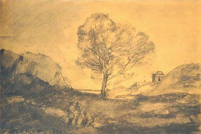 Jean Baptiste Camille Corot Landschaft mit Baum