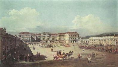 Bernardo Canaletto - Bellotto Lustschloss Schoenbrunn zur Zeit Maria Theresias
