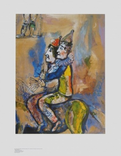 marc chagall zwei clowns zu pferde poster kunstdruck bei. Black Bedroom Furniture Sets. Home Design Ideas