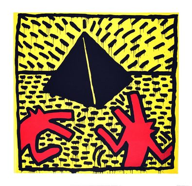 Keith Haring Untitled red dogs with pyramid