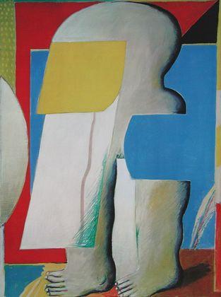 Horst Antes Maskierte Figur II (mit Blau Rot)  1965