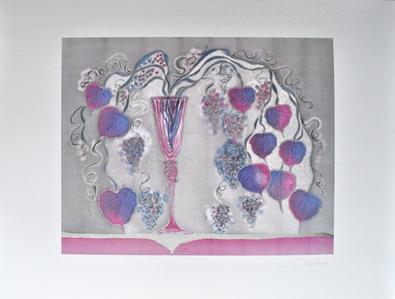 J. Fahrni Vase mit Blaettern