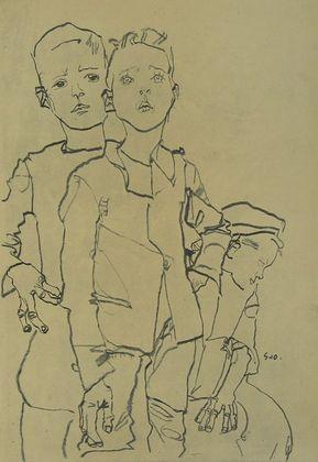 Egon Schiele Gruppe von drei Gassenbuben   1910