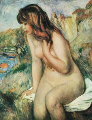Pierre Auguste Renoir Badendes Maedchen am Felsenstrand