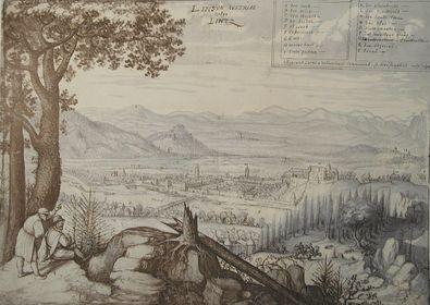 Lucas Valckenborgh Blick auf Linz vom Poestloeingberg aus