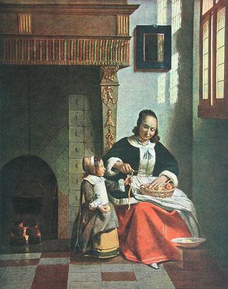 Pieter de Hooch Apfelschaelende Frau  um 1663