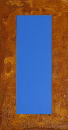 Juergen Freund 3D Blau auf Rost auf Holz