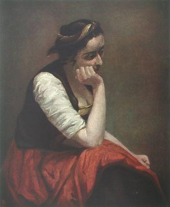 Jean Baptiste Camille Corot Sinnendes Maedchen