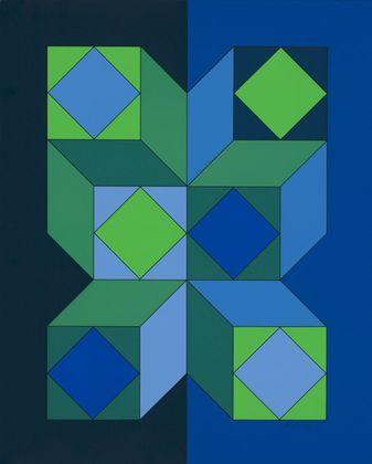 Victor Vasarely Ohne Titel XLIII (Dunkelblau)