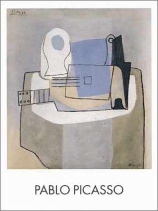 Pablo Picasso Guitare bouteille et compotier
