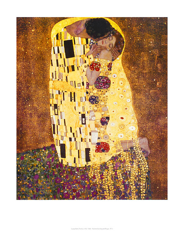 gustav klimt the kiss poster kunstdruck bild 36x28cm kostenloser versand ebay. Black Bedroom Furniture Sets. Home Design Ideas