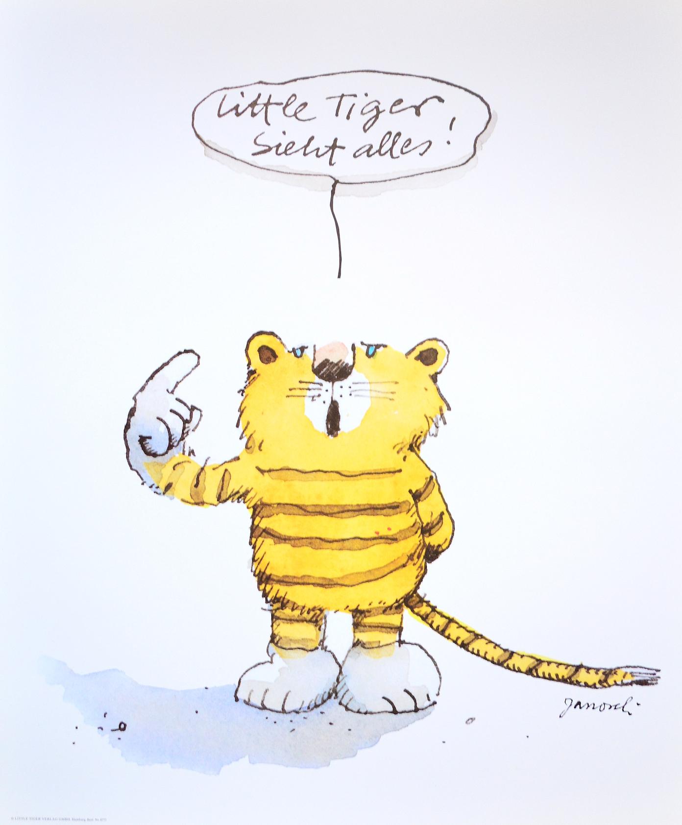 janosch little tiger poster kunstdruck bild 58x48cm ebay. Black Bedroom Furniture Sets. Home Design Ideas