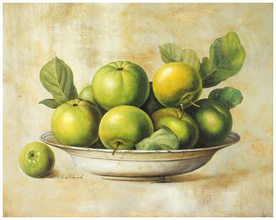 Fabrice de Villeneuve Green Apples in Bowl