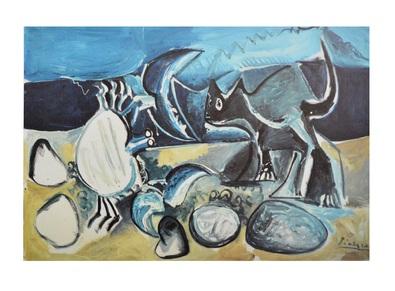 Pablo Picasso Chat et crabe sur la plage
