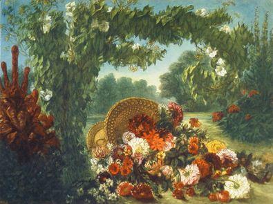 Eugene Delacroix Blumenkorb in einem Park