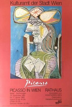Pablo Picasso Frau mit Hut auf blauem Hintergrund