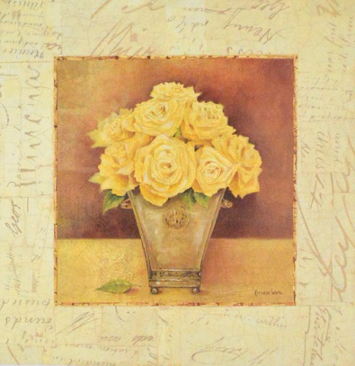 Kathryn White Scripted Roses Yellow