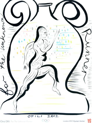 Chris Ofili For the unknowm runner