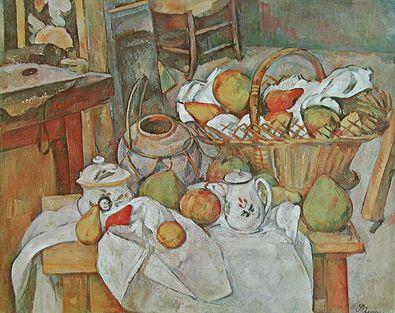 Paul Cezanne Stilleben mit Korb voller Fruechte