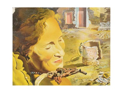Salvador Dali Gala with two lamb's ribs in equilibrium on her shoulder