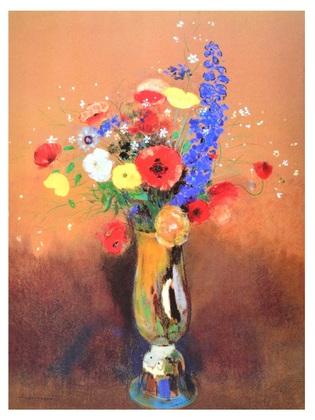 Odilon Redon Boquet de fleurs des champs dans un vase a long col