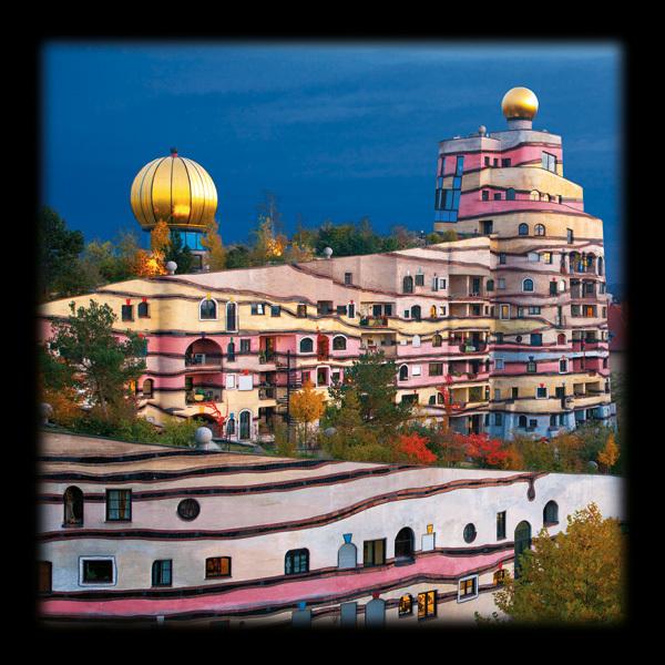 Hundertwasser die waldspirale von darmstadt poster for Hundertwasser architektur