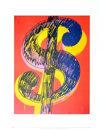 Andy Warhol Dollar Sign 1981 (black & yellow on red)