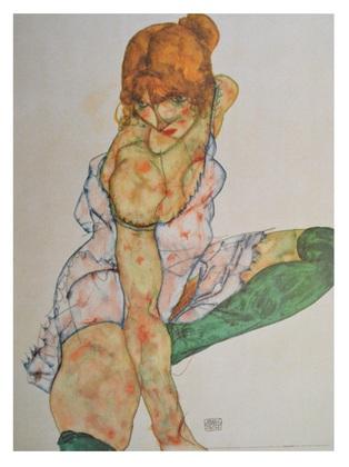 Egon Schiele Blondes Maedchen mit gruenen Struempfen