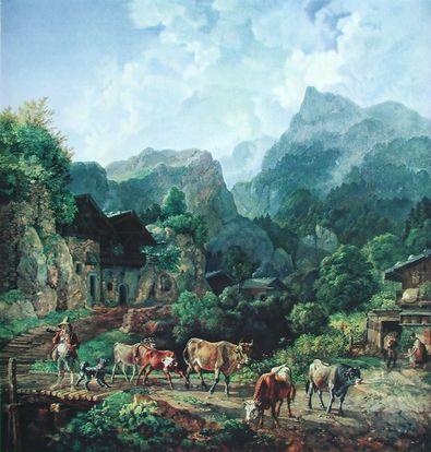 Johann Heinrich Buerkel Morgen in einem Tiroler Dorf