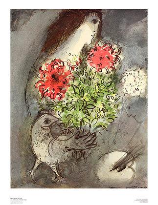Marc Chagall Frau, Blumen und Vogel, 1953