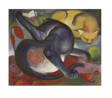 Franz Marc Zwei Katzen, blau und gelb