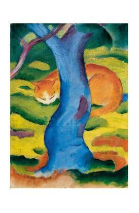 Franz Marc Katze hinter einem Baum