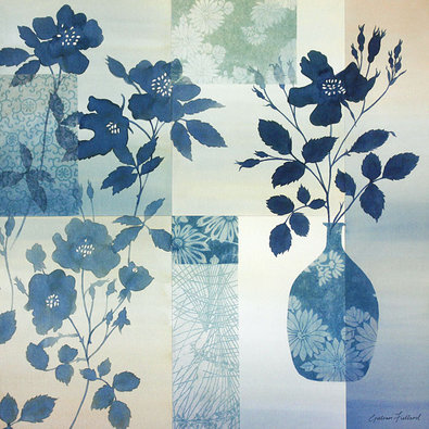 Gillian Fullard 2er Set 'Teal Rose Silhouette' + 'Teal Rose Collage'