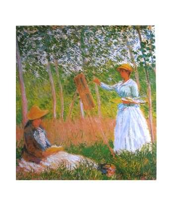 Claude Monet Suzanne beim lesen und Blanche beim malen