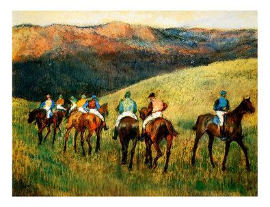 Edgar Degas Rennpferde in der Landschaft