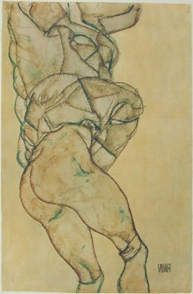 Egon Schiele Seitliche Ansicht eines Halbakts   1914