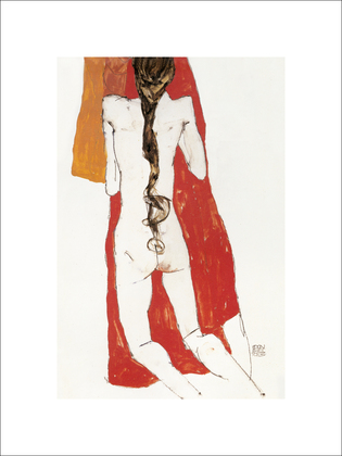 Egon Schiele Nude Back Of Girl With Long Plait, 1913