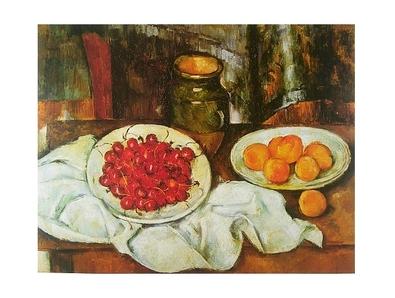 Paul Cezanne Stillleben mit Kirschen und Pfirsichen
