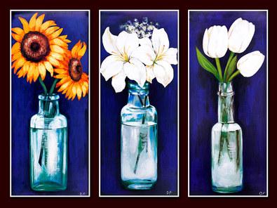 Nicht bekannt 3er Set 'Sonnenblumen' + 'Lilien' + 'Tulpen'
