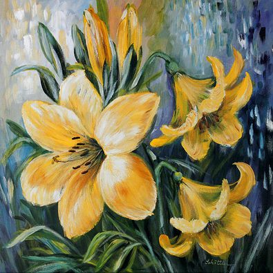 Katharina Schoettler 2er Set 'Yellow Lilies in Spring' + 'White Lilies in Spring'