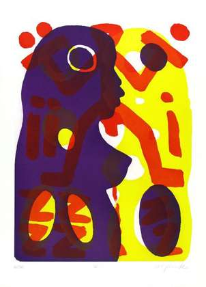 A.R. Penck Du (Lila-Gelb) II