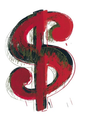 Andy Warhol Dollar Sign 1981 red