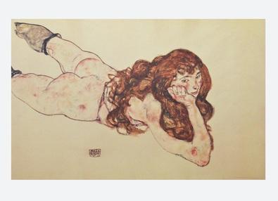Egon Schiele Am Bauch liegender weiblicher Akt