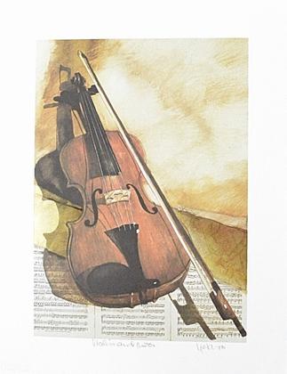 unbekannt Violin and Notes (handsigniert)