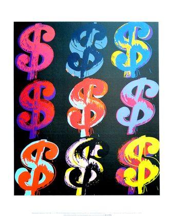 Andy Warhol Nine Dollar $ 9 1982 (on black)