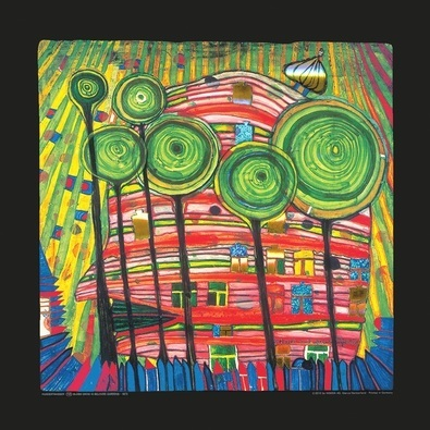 hundertwasser blobs grow in beloved gardens poster. Black Bedroom Furniture Sets. Home Design Ideas