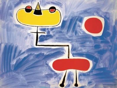 Joan Miro Figur vor roter Sonne